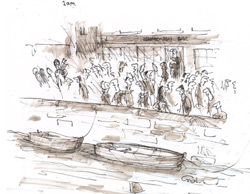 Post Gig at An Tobar Arts Centre, British Sea Power and pals gathered at The Mishnish as illustrated by Tony Husband